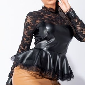 Lace and Faux leather peplum top